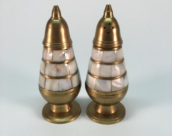 Vintage brass mother of pearl salt and pepper