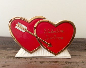 Mid-Century Hand-Painted Ceramic Gold-Trimmed Double Red Hearts Valentine Greetings Planter - Retro Valentine's Day Kitschy Decor