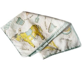 Pastel Blue and Yellow Cotton Handkerchief, Cartoon Hankie, Mid Century Pocket Square Baby Boy