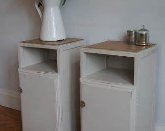 Bedside cabinet, bedside cupboard, cream, distressed, pair