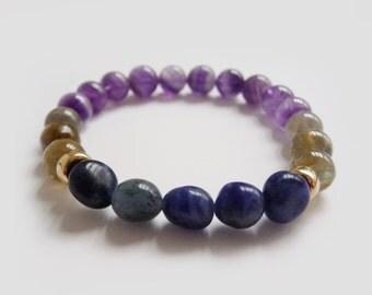 Gemstone Mala Bracelet// His & Her PROTECTION Mala Bracelet // Amethyste, Sodalite, Labradorite