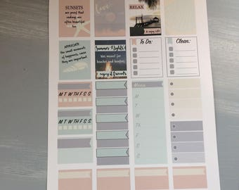 Beach Sunset planner stickers
