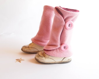 Leg warmers for children, Rose, button, 9 months to 4 years old, handmade, recycled fabrics