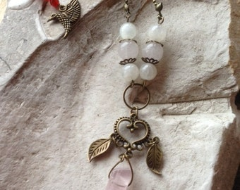 Necklace * fruitful *, iridescent Moonstone, rose quartz and carnelian, 3 stones which help design, heart and Hummingbird bronze