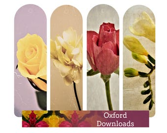 Roses and Fuchsia Printable Bookmarks, Unique Bookmarks, Rose Print, Printable Art, Floral Print, Digital Download, Nature Prints, Art