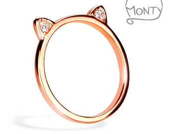 Meow - Sterling Silver Ring (Rose Gold Plated with Zircon Crystals)