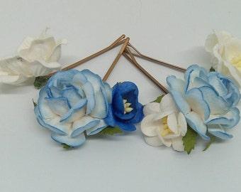 Blue & white Flower Hair Pins