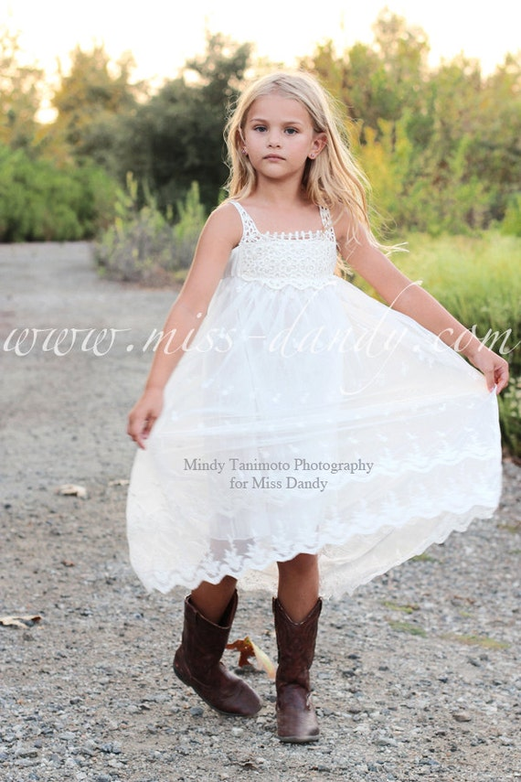 Jade Dress- Girls Lace Dress, White Lace Girl Dress, Lace &wer Girl dress, Off-White Bohemian Flower girl, Boho Flower Girl Dress Crochet