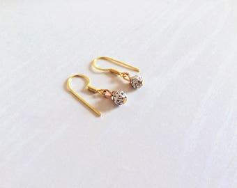 Sparkling 18k Gold Dangle Earrings