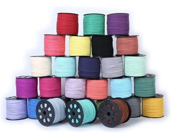 3mm Flat Faux Suede Leather Cord, DIY Leather String Cord Supplies, Faux Suede Lace, Vegan Suede Cord