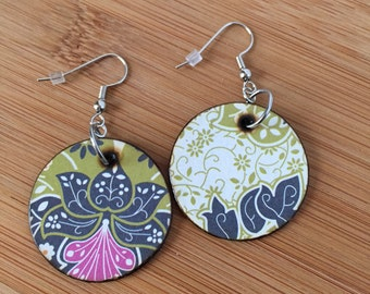 Mix n Match Chartreuse Floral Woodburned Earrings