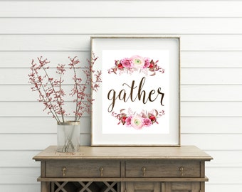 Gather Sign, gather, dining room decor, kitchen decor, kitchen wall decor, kitchen wall art, kitchen printables, dining room, wall art, art