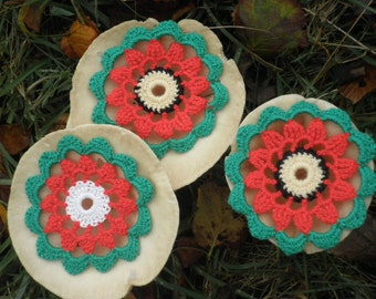 Ten Vintage crocheted drinks mats, 1950's, hand crocheted drinks coasters, christmas table decoration