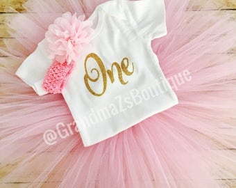 First Birthday Outfit Girl, Baby Girl First Birthday Outfit, Smash Cake Outfit, 1st Birthday Outfit, Birthday Tutu, First Birthday Shirt