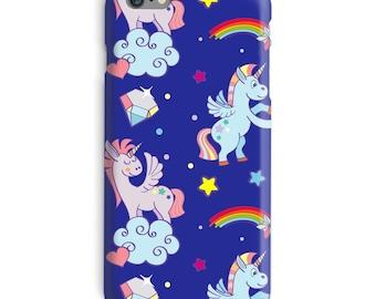 Unicorn iPhone Case, Pegasus iphone case, Rainbow iphone 6 case, Cartoon iphone 6 case, Blue iphone 6s case, Cute iphone case