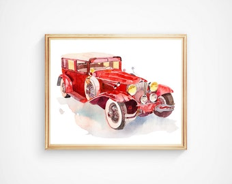 Watercolor Printable Retro Red Cars Vehicles Vintage Cars Art Print Traveling Vintage Transport Nersery Art Print Wall Art Decor