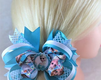 Large Frozen Hair Bow Elsa Hair Bow Birthday gift for her Elsa hair clip Girl party favour Boutique hair bow Baby headband Unique baby gift
