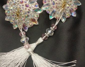 """Crystal AB nipple tassels, burlesque pasties, breast nipple covers pasties: """"Ice Queen"""""""
