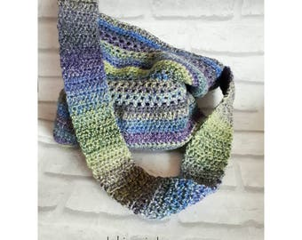 Crossbody shopping bag, crochet shoulder bag, market vegan shopper tote, slouch, handbag, gypsy boho chic, woodland mermaid birthday gift