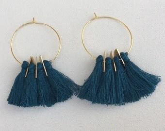 Peacock Blue/ Tassel Earrings/ 1.5 inch Gold Hoops/ Tassel Hoop Earrings