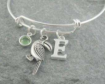 Toucan bracelet, bird charm bracelet, silver bangle, initial bracelet, swarovski birthstone, personalized jewelry, birthstone jewelry