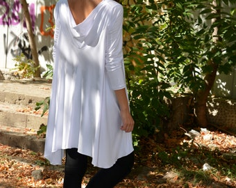 Tunics Plus Size, Plus Size Tops, White Tunic, Oversized Tunic, Womens Tunic Tops, Loose Tunic, Long Sleeve Tunic, White Top, Danellys 08.14