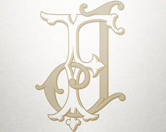 Interlocking Monogram Design - FJ JF - Monogram Design - Vintage