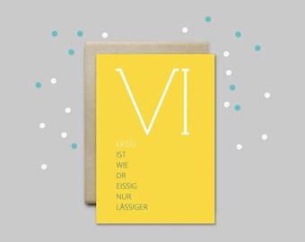 VI - greeting card 40Jahre, 40igster birthday, minimalist greetings card, contemporary greeting card, graphic design, typographical birthday card