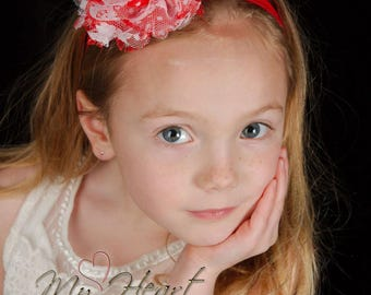 Red Baby Headband / Red Headband / Baby Headband / Newborn Headband / Infant Headband / Girl Headband / Flower Headband / Baby Girl Headband