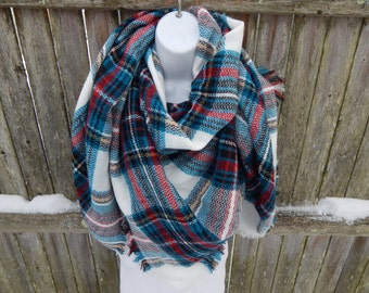Winter White/ Teal /Red Blanket Scarf