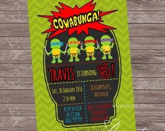TMNT Cowabunga - Personalised - Printable - Digital File - Turtles - Childrens Birthday