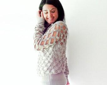 Openwork crochet sweater
