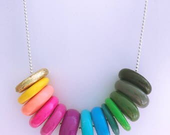 handmade polymer clay beaded necklace in rainbow scheme with gold leaf detail