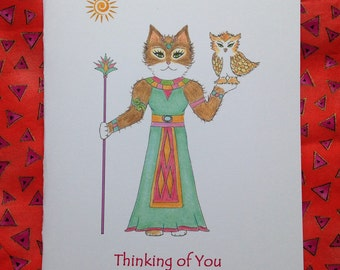 Egyptian Cat with an Owl - Cats are Egyptian Gods - Greeting Card Egyptian Cat