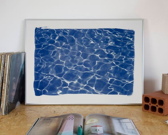 Swimming Pool Water Reflection, Wall Art Cyanotype Print on Watercolor Paper, 50x70 cm