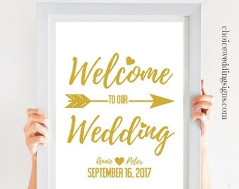 Welcome To Our Wedding Sign DIY Wedding Printable Personalized Sign With Names Date, Gold PDF | SKU# CWS306_1511C