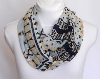 Infinity Scarf / Boho Scarves / Lightweight Scarf / Spring Scarf / Tribal Scarf Sheer Scarf / Blue and Gold Scarf / Loop Scarf Pattern Scarf