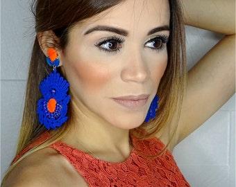 Extra Long Pendant, Extra Long Earrings, Gypsy Long Earrings, Big Earrings, Chandelier Earrings, Blue Dangle Earrings, long gypsy earrings