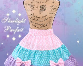 Pastel Fairy-kei Layered Skirt | Sweet lolita Fashion, Fairy-Kei, Hime | Handmade in the USA | Ready To Ship | Women's Size: SM |