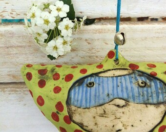 Ceramic wall hanging, ceramic mobile, home decor, housewarming gift, colourful ceramics, wall art,  gift for her,ceramic art