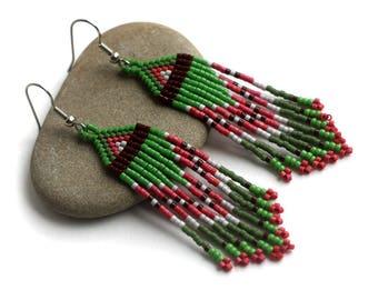 Long dangle earrings Green dangle earrings Long beaded earrings Boho beaded earrings Bohemian seed bead jewelry Colorful dangle earrings