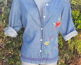 Vintage Denim Button Up Top, Erika Blouse, Embroidery Floral, 100% Cotton Shirt, Blue, Denim Shirt, Size Medium