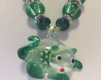 Green Lampwork Murano Glass Cat Pendant Necklace