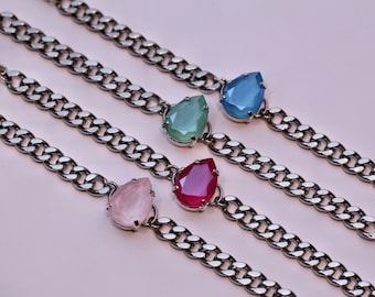 Spring Collection Swarovski Bracelet / Pear Shape Crystal / Stainless Steel / Curb Chain / Stackable / Teardrop Crystal / Pastel Colors