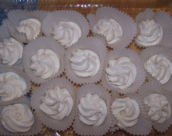 MERINGUES 2 dozen/homemade/baked goods/candy/cookies /23sweets/gluten free/food gifts/wedding favors/party favors/homemade candy/low fat
