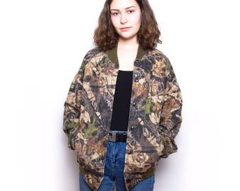 Vintage 90s Camo Military Bomber Jacket ID:1231