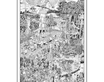 """Potters' Road - GIANT 27""""x 40"""" Wildergorn Colour-In Poster"""