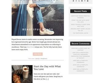 WordPress Template Responsive Blog Theme, Feminine, Travel, Fashion, Book, Design, Website, Free Installation - Beautiful Minds