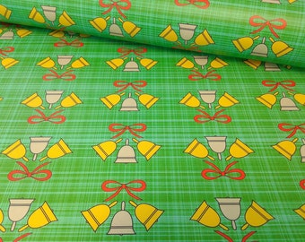 Holiday wrapping paper sheets, modern Bells with red bows on green and blue plaid, 20x29 inches each, ships rolled in tube