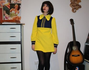 Vintage 1960's Yellow and Navy 'Lewis Barnett' Collar Shift Dress (Size 8 (UK))